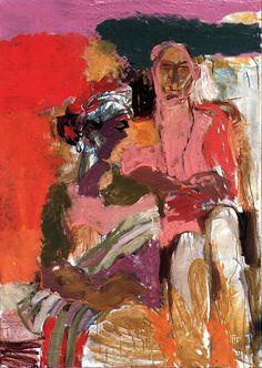 Carol Lind, Painting of John Hawkins and Marta Vivas, 1957. Thesis painting for Master of Fine Arts (MFA) degree