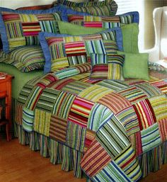 The Country Porch features the Bright Stripes quilt, pillow sham and bedding accessories from C&F Enterprises. Rustic Quilts, Country Quilts, Rag Quilt, Quilt Bedding, Bed Ensemble, Beach Quilt, Double Bed Sheets, Striped Quilt, Summer Quilts
