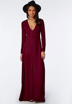Effie Long Sleeve Maxi Dress Burgundy - Dresses - Maxi Dresses - Missguided
