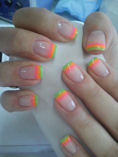 20 Adorable Nail Design Ideas- it's like rainbow sherbet!