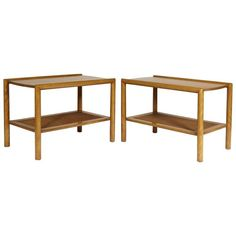 1950s Leslie Diamond for Conant Ball Pair of Caned Side Tables