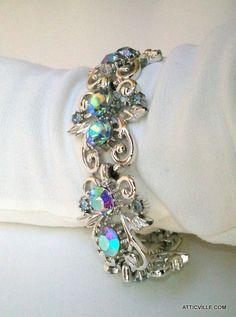 Our Vintage 1950s CORO Silver Blue Aurora Borealis Rhinestone bracelet. Designer signed  $56