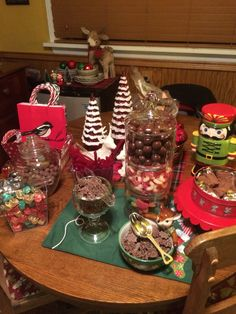 My small candy buffet set up for our friends at a Christmas party