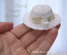 """Floral Easter Bonnet"" made for tiny Amelia Thimble dolls.  cindyricedesigns.com"