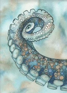 Shop for octopus art from the world's greatest living artists. All octopus artwork ships within 48 hours and includes a money-back guarantee. Choose your favorite octopus designs and purchase them as wall art, home decor, phone cases, tote bags, and more! Art And Illustration, Octopus Illustration, Cthulhu, Motif Art Deco, Watercolor Artwork, Watercolor Sea, Kraken, Art Plastique, Painting & Drawing