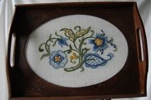 Vintage Hand Embroidered TRAY