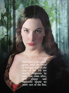 Pinning because this is a beautiful picture of Arwen and reflects her great dedication to Aragorn.