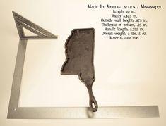 Mississippi shaped cast iron skillet