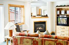 Living Room with Fireplace of One Bedroom Unit at Red Wolf Lodge at Squaw Valley