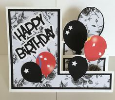 CBY - Happy Birthday balloon step greeting card made with Sizzix die cut package.