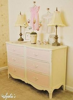 white dresser pink drawers. I love the hanging dresses. I could do that with Val's baptism dress