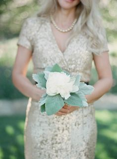 Beautiful dress for the Mother of the Bride. Photography: Elizabeth Messina And MoB bouquet Floral Wedding, Wedding Colors, Wedding Bouquets, Wedding Styles, Wedding Flowers, Single Flower Bouquet, Single Flowers, Flower Bouquets, Metallic Bridesmaid Dresses