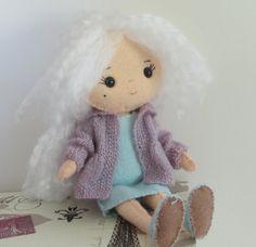 Felt Girl Pocket Poppet Doll With White Hair by FashionableFigures, $21.99 cute grandma kawaii plushie doll