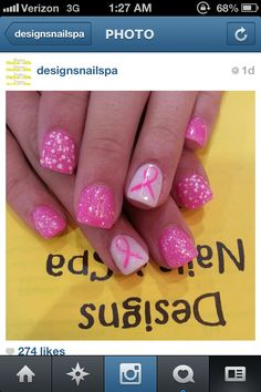 Nails breast cancer awareness and dots