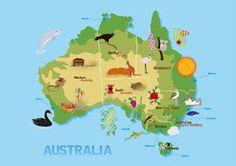 Landen - Wereld - Maak een kaart van je favoriete land - Bijvoorbeeld met de dieren die er leven - Voorbeeld kaart Australië - Australia map - Anispirateship.blogspot.com