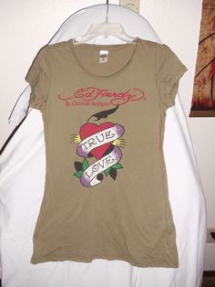 "Ed Hardy by Christian Audigier Size medium t-shirt- ""True Love"" Woman's cut #EdHardy #GraphicTee"