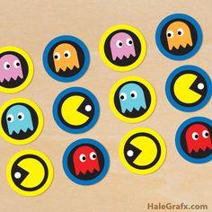 FREE Printable Retro Pac-man Cupcake Toppers