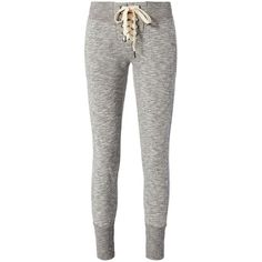 NSF Women's Lace-Up Sweatpants ($139) ❤ liked on Polyvore featuring activewear, activewear pants, pants, bottoms, sweatpants, jeans, grey, cotton sweatpants, cotton sweat pants and nsf sweatpants