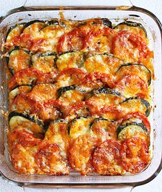 Tomato and Zucchini Tian by Tamera H - Key Ingredient Cheese Recipes, Vegetable Recipes, Chicken Recipes, Baked Vegetables, Veggies, Stuffed Pepper Soup, Stuffed Peppers, Zucchini, Fiestas