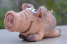 Handmade Funny Pig Felted, Wool Artist Miniature, 5in #Unbranded