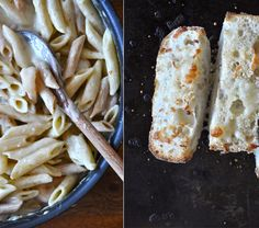 A lighter version of classic alfredo sauce with no butter and tons of cheesy, garlic and pesto flavor. In addition, a simple cheesy ciabatta roll for a healthier version of cheesy garlic bread. Salsa Alfredo, Alfredo Sauce, Alfredo Recipe, Mozzarella, Baker Recipes, Cooking Recipes, Healthy Recipes, Cooking Food, Pesto