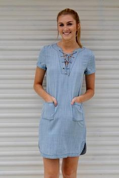 Meet Me At The Beach Denim Dress