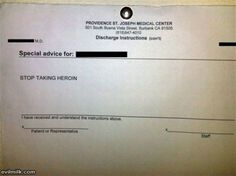 Best hosptial discharge instructions ever