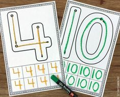 If your kids are just learning to write their numbers it's a great idea to encourage correct number formation from the start. These free number formation cards are an easy way to get on top of this! Numbers Kindergarten, Teaching Numbers, Numbers Preschool, Math Numbers, Writing Numbers, Preschool Ideas, Number Recognition Activities, Math Activities, Learning To Write