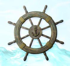 Antique Finish Ship Wheel Nautical Wall Decoration $55.99 // I want this so badly! Christmas? Anyone?