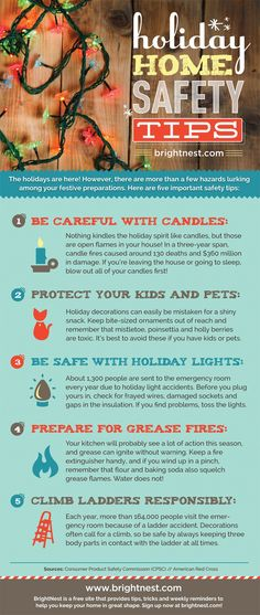 Helpful brightnest.com infographic, via The Joyful Organizer, points out potential safety hazards in your holiday decorating, and how to avoid the pitfalls.  The info on grease fires is super helpful all year round!