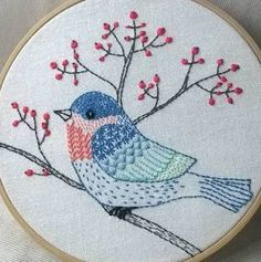 Latest No Cost bird Embroidery Designs Popular This is palm adornments! Embroidery generally is a stress-free imaginative store to keep your finger Learn Embroidery, Embroidery Patterns Free, Hand Embroidery Stitches, Silk Ribbon Embroidery, Crewel Embroidery, Hand Embroidery Designs, Cross Stitch Embroidery, Embroidery Thread, Brazilian Embroidery