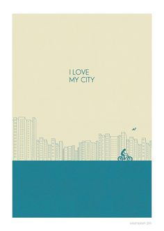 For urban theme kids room - I love my city Print l BLUE  8x10 or A4 by JudyKaufmann on Etsy, $25.00