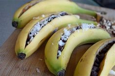 instead of s'mores. You cut the banana, stuff in Enjoy Life chocolate chips, sprinkle on coconut. Then wrap in aluminum foil and grill.