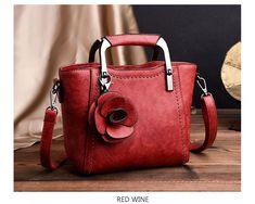 sac cuir luxe fleur rouge 20*18*10 cm
