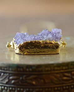 Large Amethyst Druzy Necklace in Gold  Layering by AeaeaJewelry