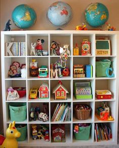 From a blog post about feeling inferior because you can't live up to pinterest perfection LOL - but I couldn't resist pinning this awesome bookshelf full of vintage Fisher Price toys (many of which I've picked up cheap at garage sales!)