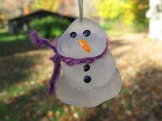 BEACH GLASS SNOWMAN Ornament Sea Glass by lakehousetreasury