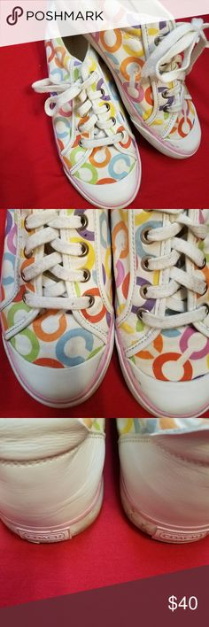 Coach sneakers Super cute & colorful Coach sneakers! Throw on with your fave cami & white shorts! Shoes are in nice condition but have some scuff marks on the sides. Might come clean with Mr Clean Magic Eraser. Coach Shoes Sneakers