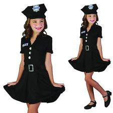 girl police costumes girls police lady american cop law officer fancy dress costume - Girls Cop Halloween Costume