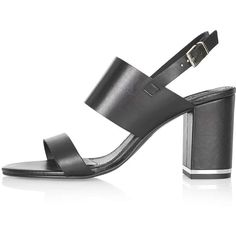 TOPSHOP RAFFY Block Heel Sandals ($105) ❤ liked on Polyvore featuring shoes, sandals, black, ankle wrap sandals, black ankle strap shoes, topshop shoes, black open toe sandals and leather sandals