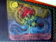 Age 11 ~ Botany ~ Plants and Elements ~ chalkboard drawing Blackboard Drawing, Chalkboard Drawings, Chalk Drawings, Chalkboard Art, 5th Grade Art, Fifth Grade, Classroom Art Projects, Art Classroom, Plant Painting