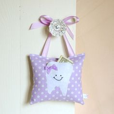 Girls Tooth Fairy Pillow in Sweet Lilac Polka by BoutiqueVintage72, $15.00