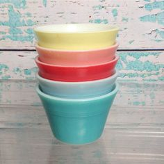 Vintage JAJ English Pyrex custard cups. 5 cups. Blue, aqua, coral, pink, yellow. Cooking. Baking. Vintage kitchen. Chef. Food storage.