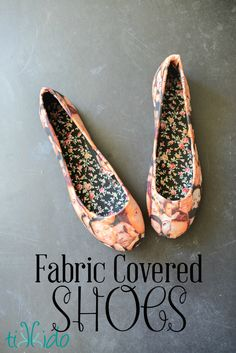 How to cover plain ballet flat shoes with any fabric.  These are covered with particularly epic Mishapocalypse (Misha Collins, from Supernatural) fabric.
