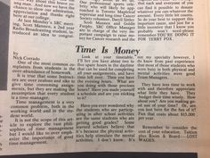 """In 1980 this student offered """"Time Is Money"""" advice. What do you think of it? Still useful today? #Mohawk50 #MohawkCollege #Amazing50"""