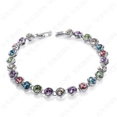 18K White Gold Plated Emulational Diamond Bangle multi Colorful Swarovski Crystal Bracelet B008W2