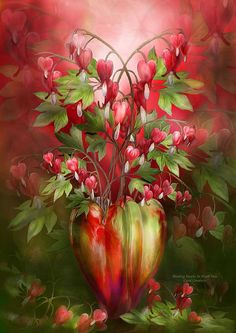 Bleeding Hearts In Heart Vase By Carol Cavalaris  Bleeding Hearts So delicate In pink and red Like dangling lockets Filled with love.  Bleeding Hearts prose by Carol Cavalaris ©