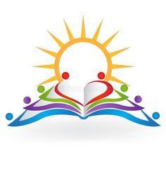 Book sun teamwork education logo vector image royalty free illustration - New Site