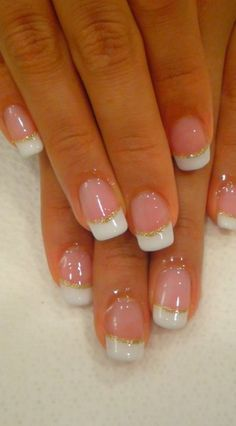 French tips with gold glitter bands - Beauty and fashion