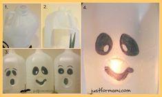 Fantasmas de bote de leche para decorar en Halloween